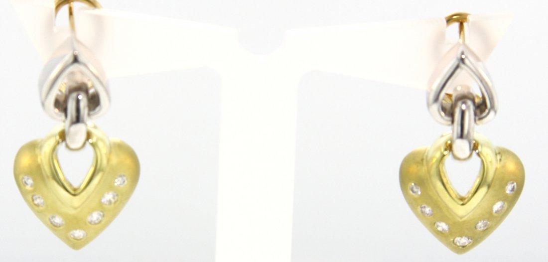 18KT Yellow & White Gold Diamond Earrings STN44