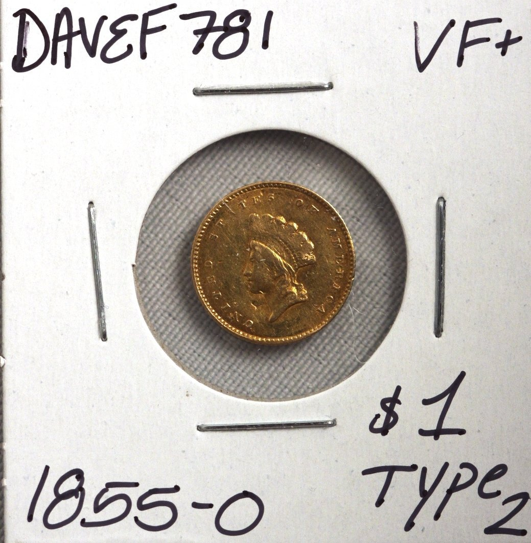 1855-O $1 VF+ Date Type 2 Gold Coin DAVEF781