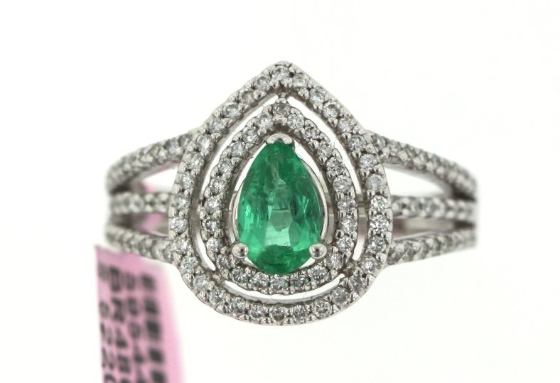 14KT White Gold Emerald and Diamond Ring FJM1472