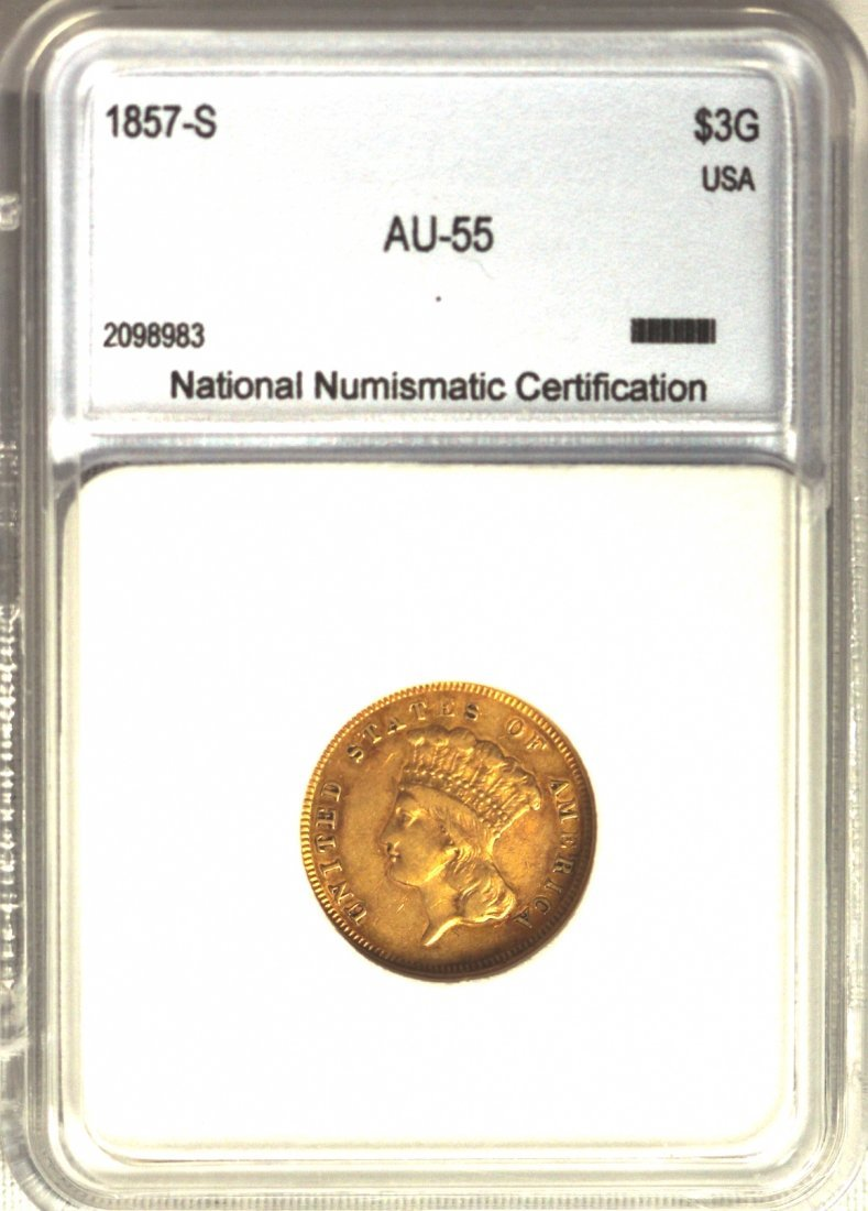 1857-S $3 AU Indian Princess Gold Coin GREGR1
