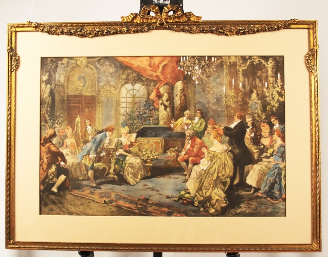 "19th Century Aquatint Print ""Mozart at the Courtyard"" b"
