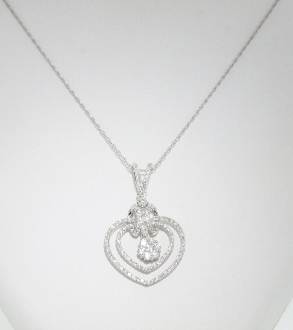 18KT White Gold 0.88ct Diamond Pendant on Chain FJM1309