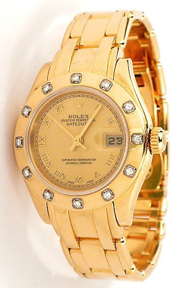 Ladies Rolex 18KT Yellow Gold Pearlmaster DateJust Wris