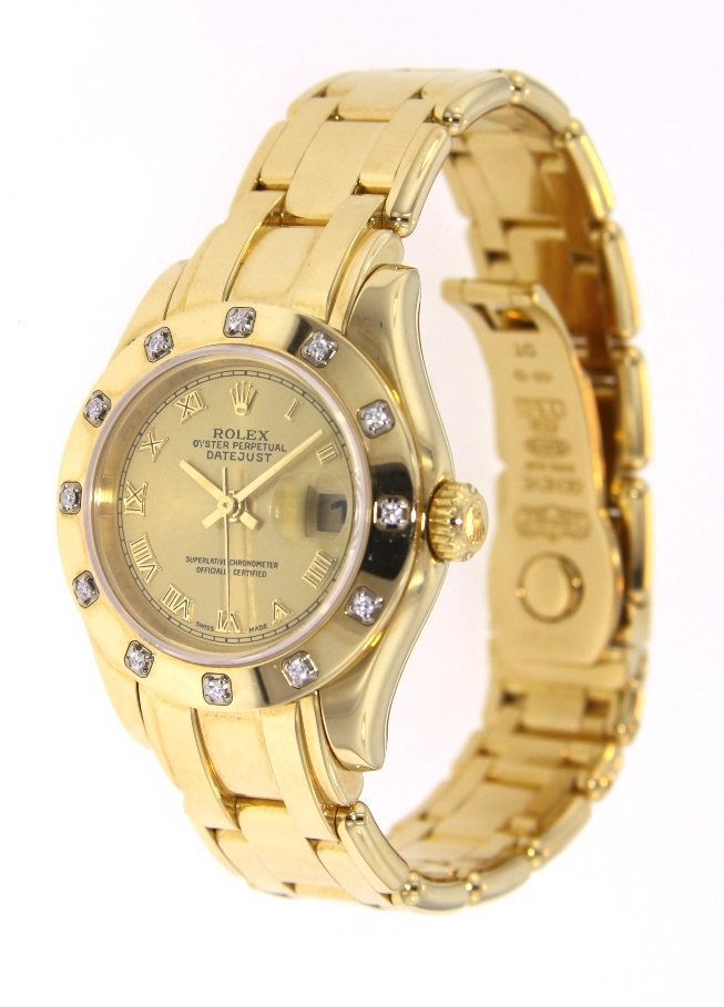 Ladies Rolex 18KT Yellow Gold Pearlmaster DateJust Wris - 2