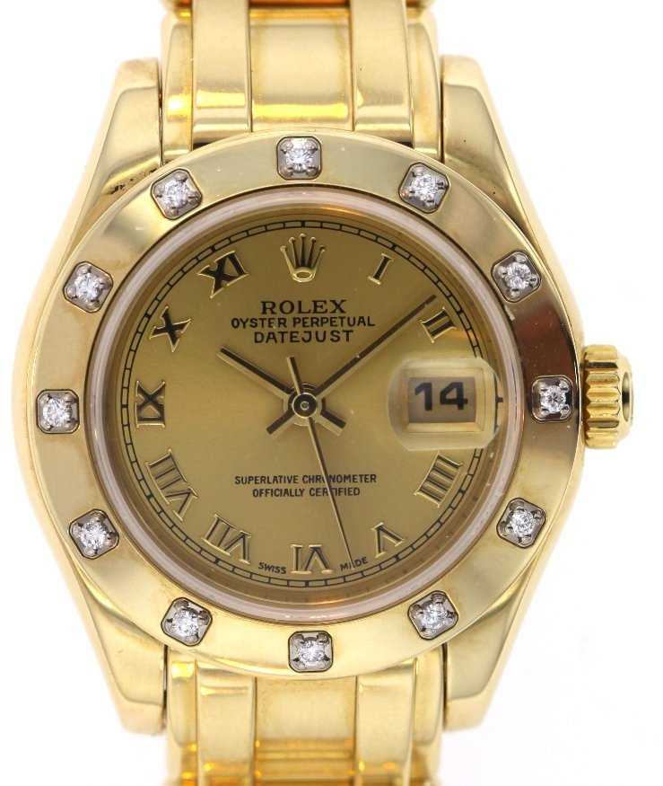 Ladies Rolex 18KT Yellow Gold Pearlmaster DateJust Wris - 3