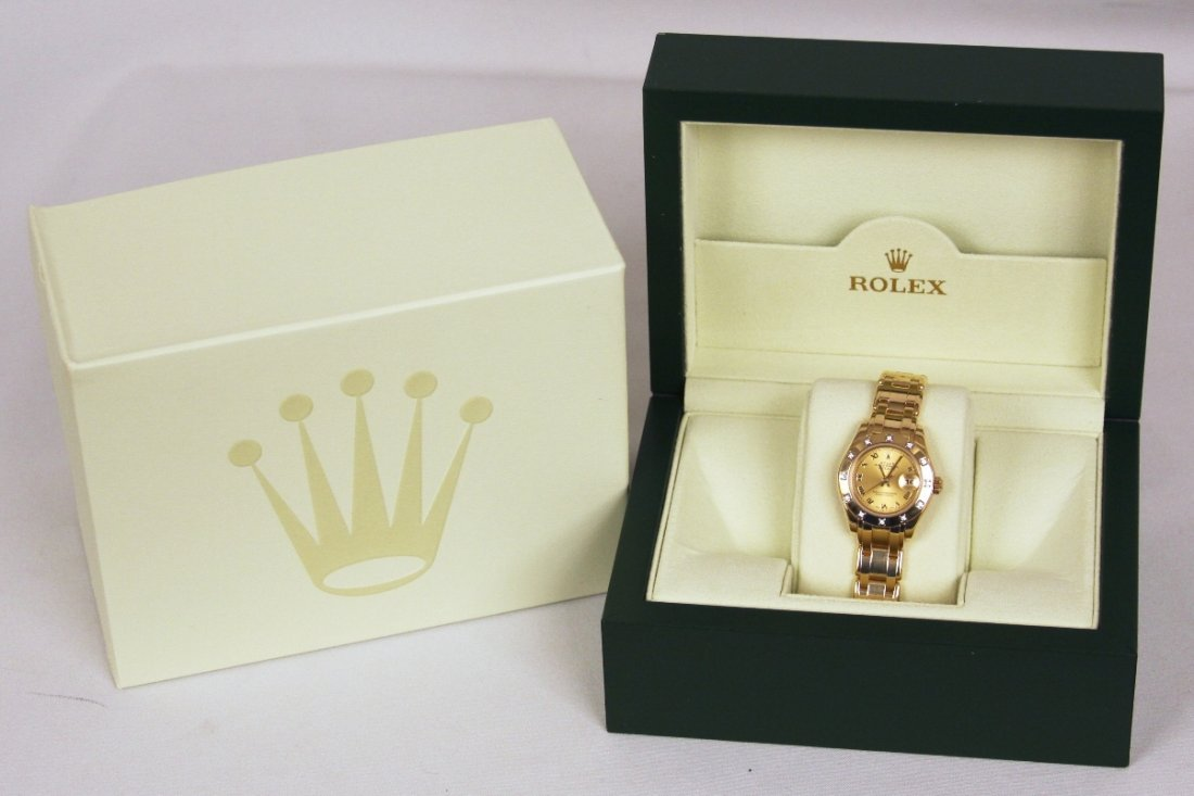 Ladies Rolex 18KT Yellow Gold Pearlmaster DateJust Wris - 6