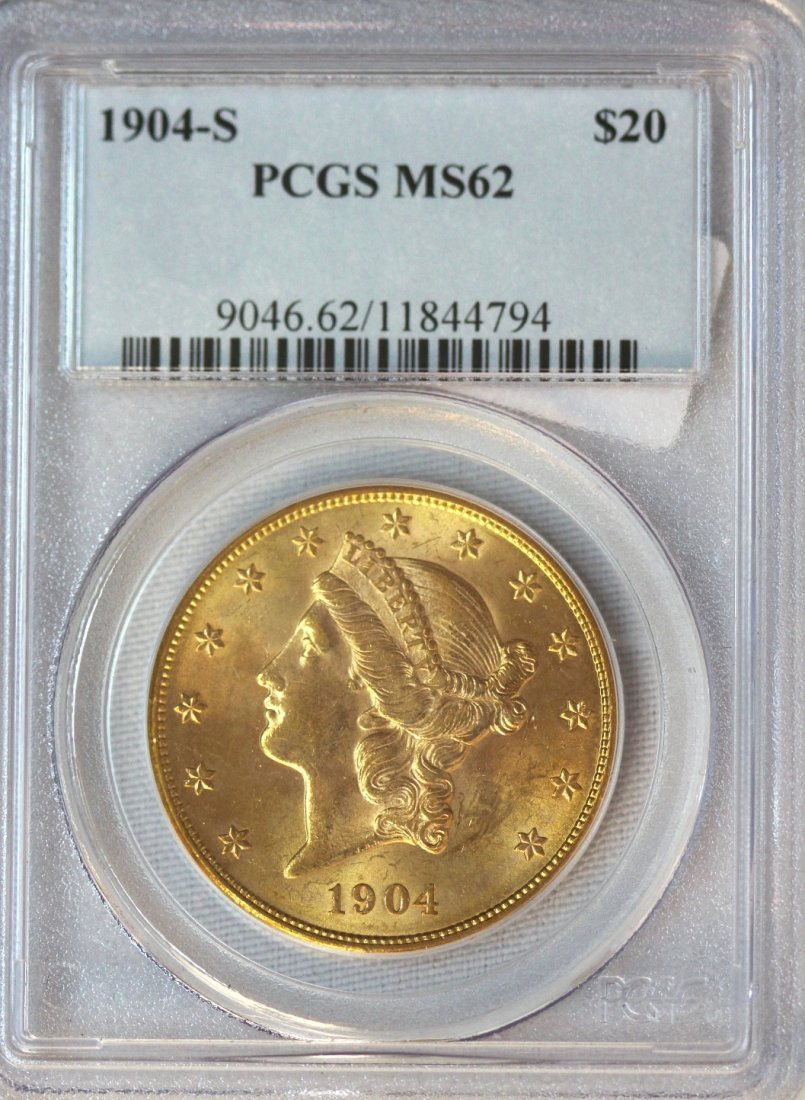 1904-S $20 PCGS MS62 Liberty Head Double Eagle Gold Coi