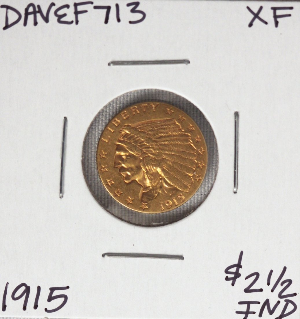 1915 $2 1/2 XF Indian Head Quarter Eagle Gold Coin DAVE