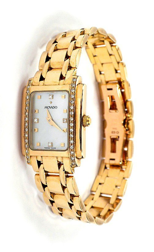 Movado 14KT Gold Ladies Diamond Wristwatch A3384