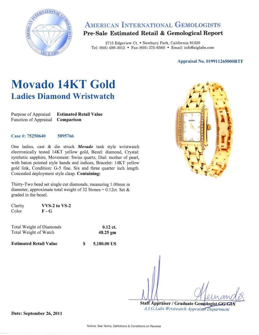 Movado 14KT Gold Ladies Diamond Wristwatch A3384 - 2