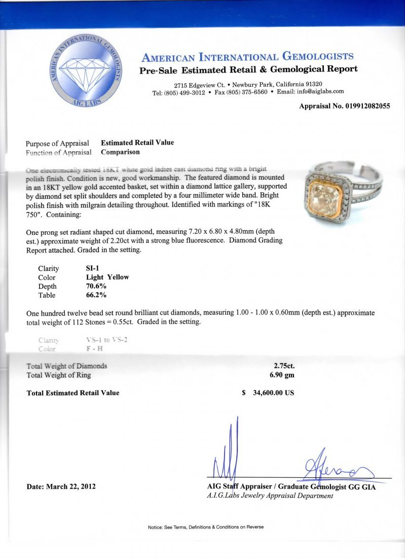 18KT White Gold 2.75tcw Diamond Ring A3913 - 4