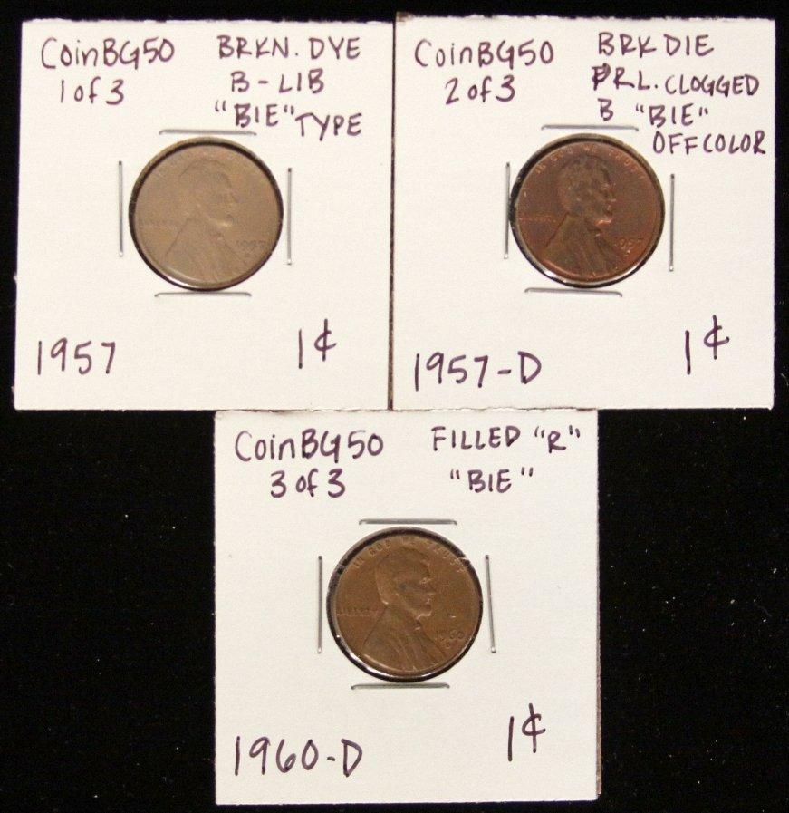 Lot of 3 RARE Penny Lamination Error Coins CoinBG50