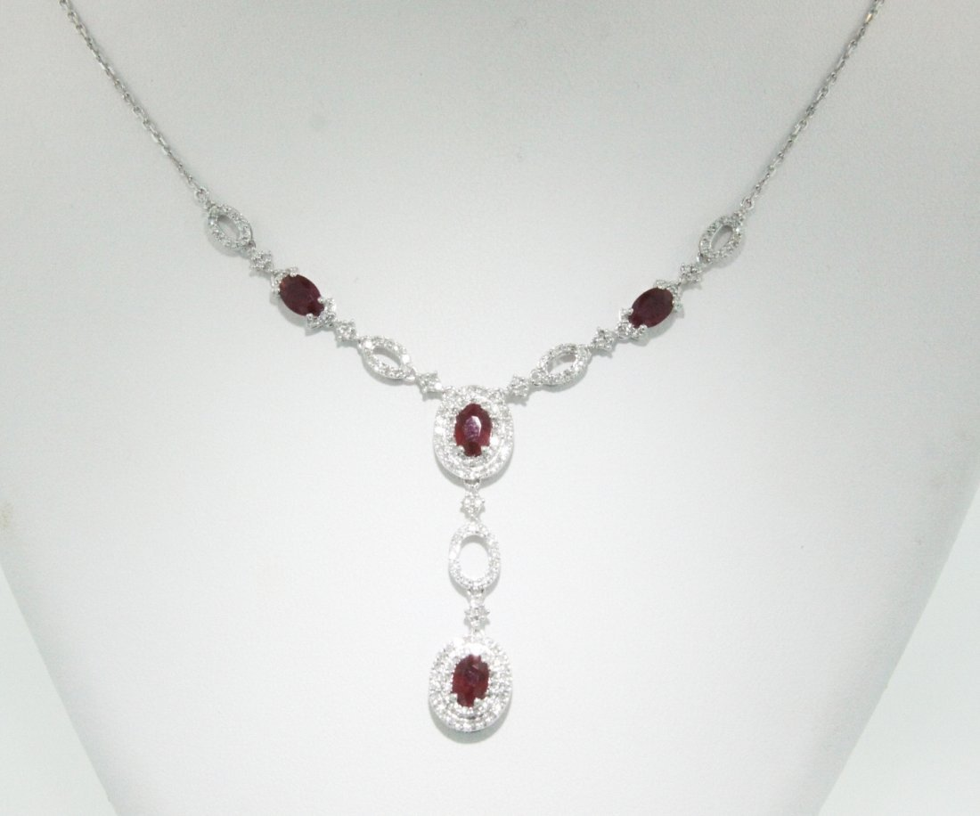 14KT White Gold 2.66ct Ruby Necklace FJM1301