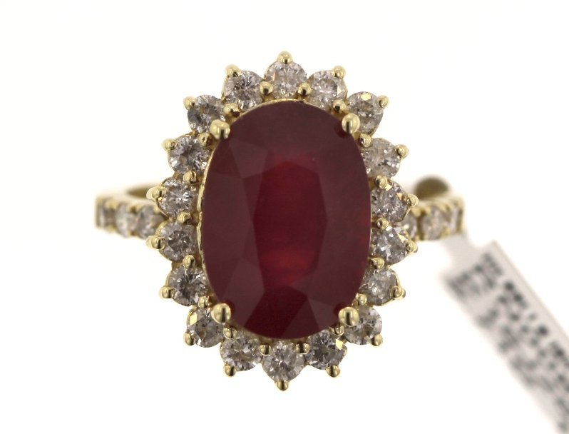 14KT Yellow Gold 6.67ct Ruby and Diamond Ring RM486