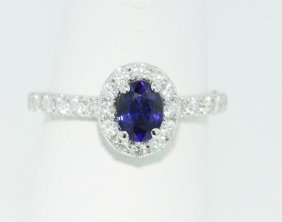 18KT White Gold 1.07ct Sapphire Ring FJM1256