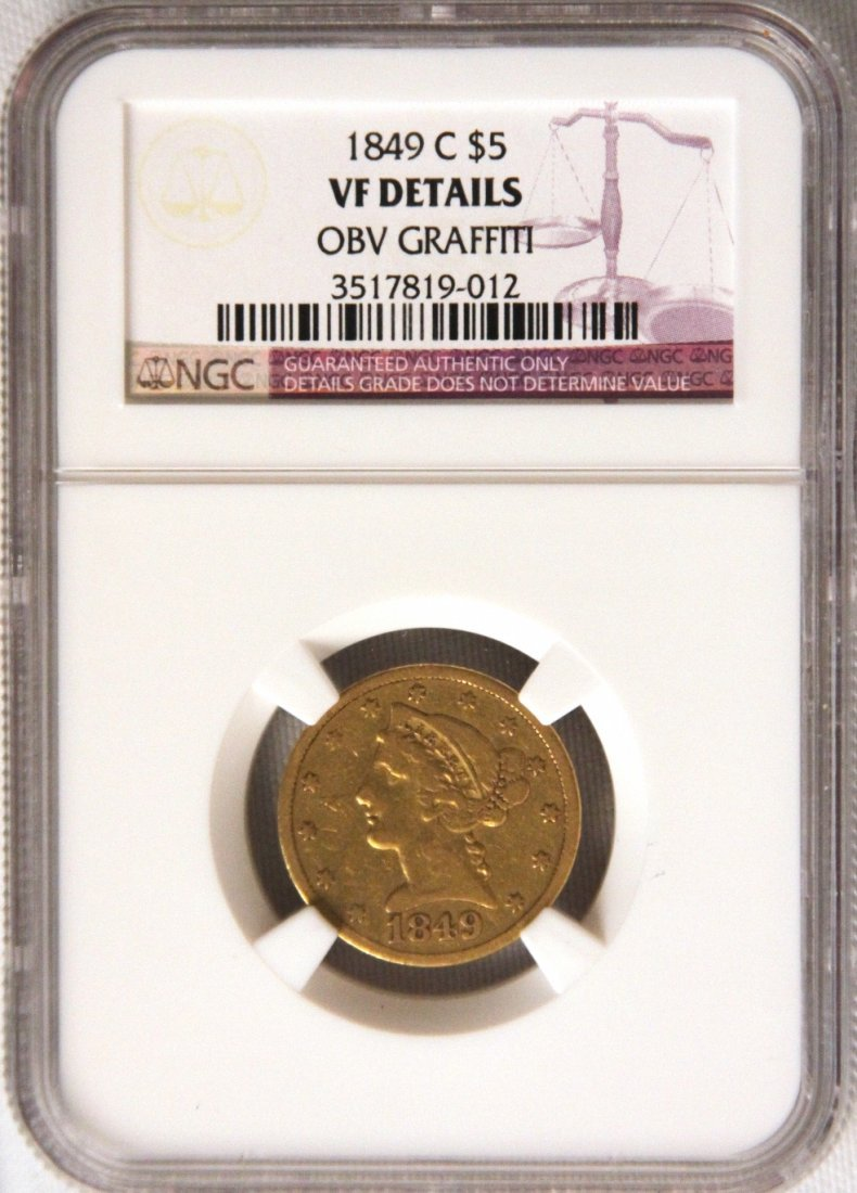 1849C NGC VF $5 Half Eagle Gold Coin JohnGC255