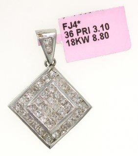 18KT White Gold 3.1ct Diamond Pendant FJM992