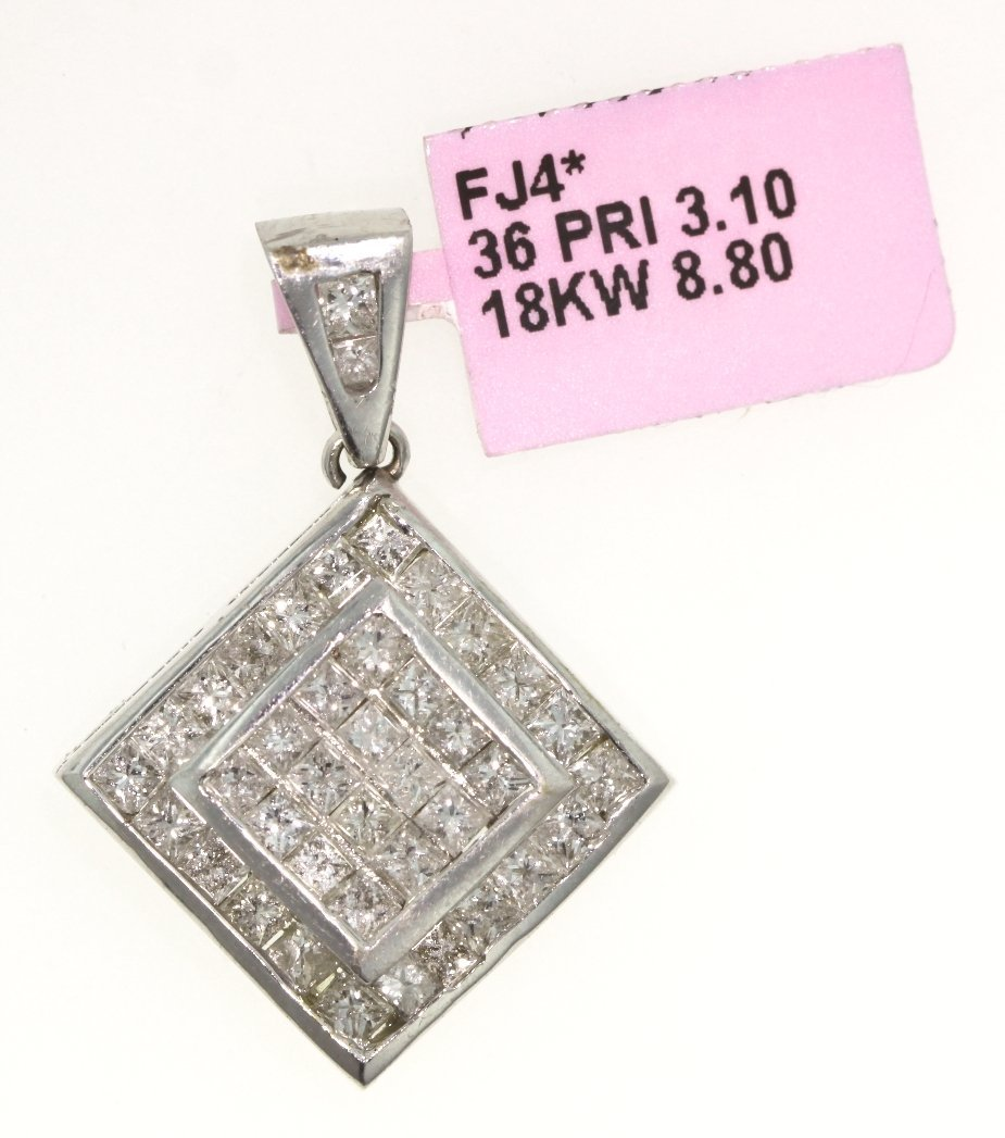 18KT White Gold 3.1ct Diamond Pendant FJM992