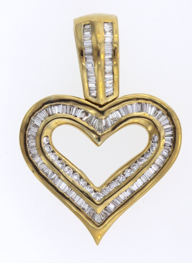 14KT Yellow Gold 2.10ct Diamond Heart Shaped Pendant ST
