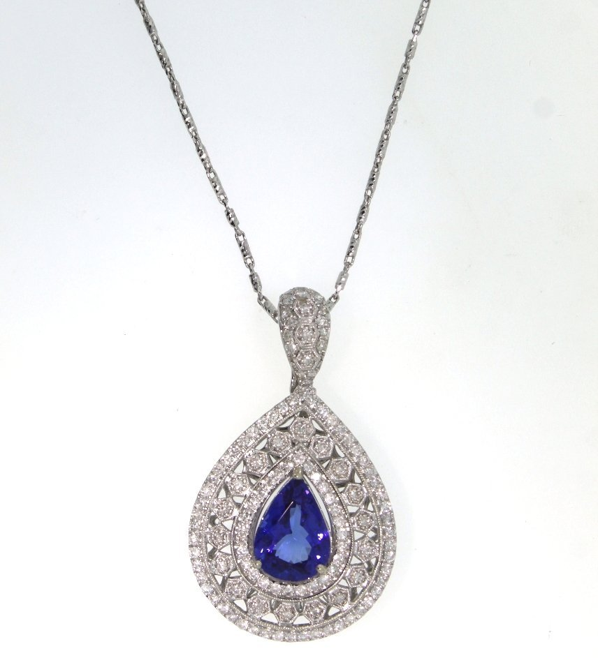 14KT White Gold 6.89ct Tanzanite & Diamond Necklace A38
