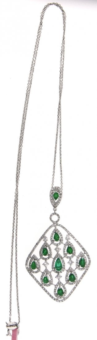 18KT White Gold 1.05ct Emerald & Diamond Pendant on Cha