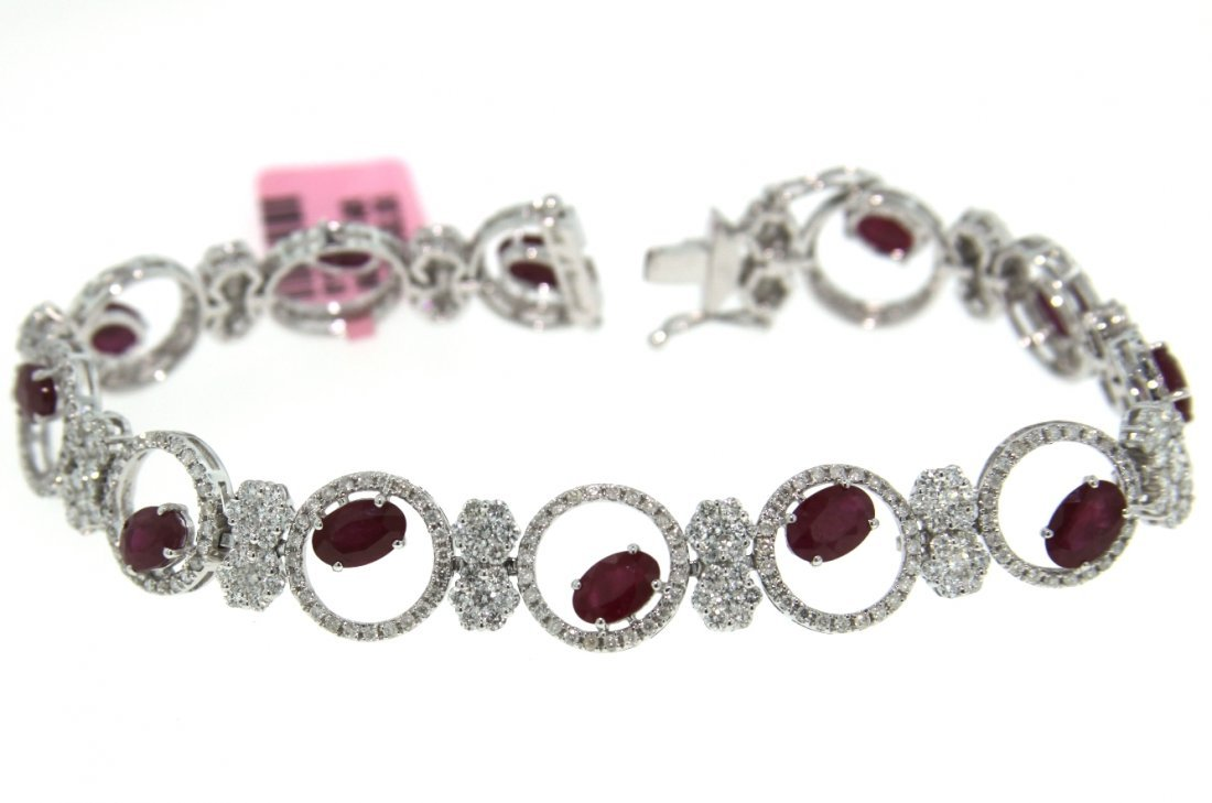 14KT White Gold 7.03ct Ruby & Diamond Bracelet FJM1587