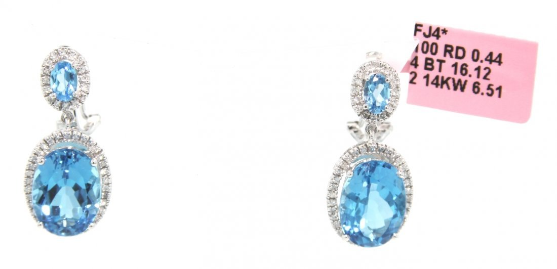 14KT White Gold 16.12ct Blue Topaz and Diamond Earrings