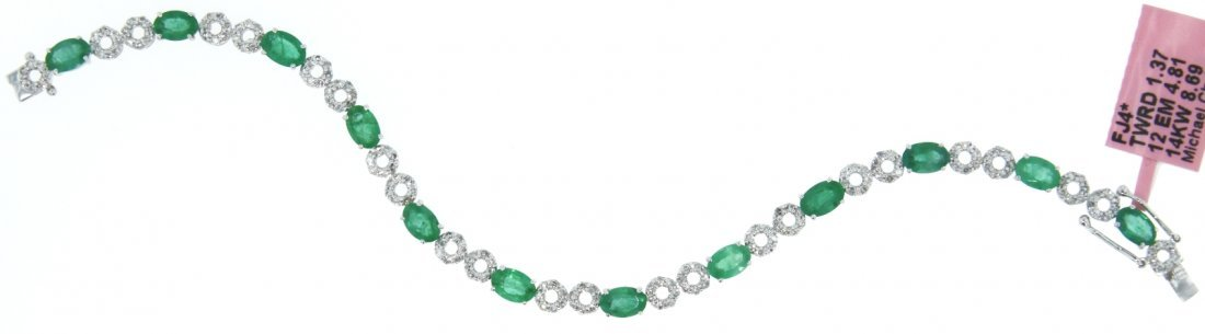 14KT White Gold 4.81ct Emerald & Diamond Bracelet FJM13
