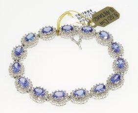 14KT White Gold 11.48ct Tanzanite And Diamond Bracelet