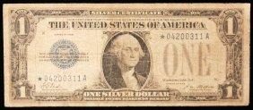 RARE 1928 $1 Plain Star Note Funny Back PM2266