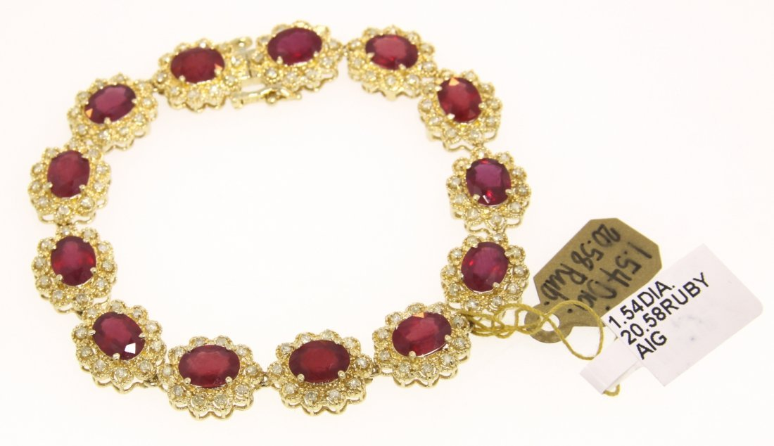 14KT Yellow Gold 20.58ct Ruby and Diamond Bracelet RM38