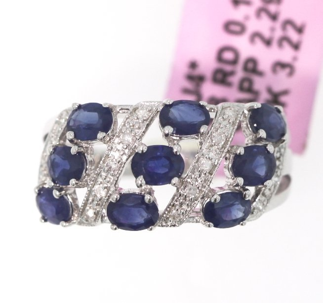 14KT White Gold 2.29ct Sapphire and Diamond Ring FJM138