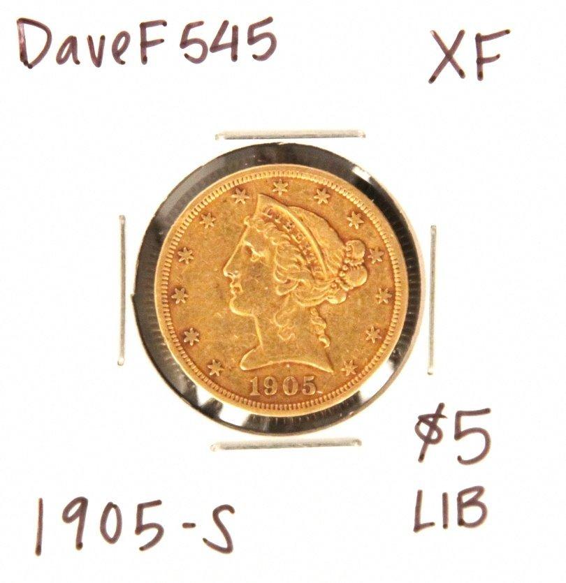 1905-S $5 XF Liberty Head Half Eagle Gold Coin DaveF545