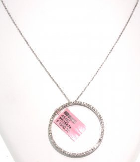 14KT White Gold .88ct Diamond Circle Pendant And Chain