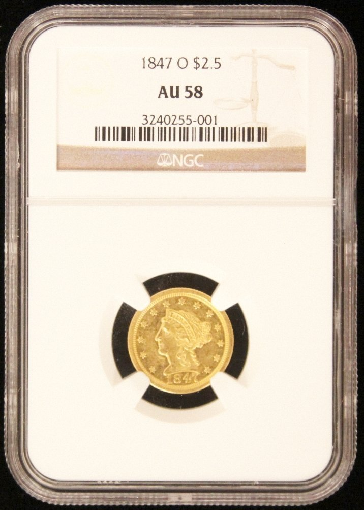 1847-O $2-1/2 NGC AU58 Liberty Head Quarter Eagle Gold