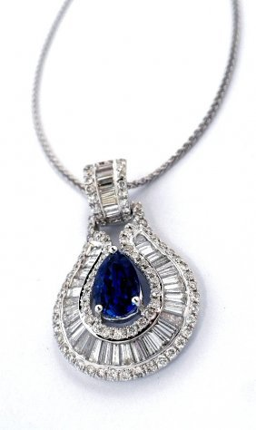 18KT White Gold 1.87ct Sapphire & Diamond Pendant On Ch