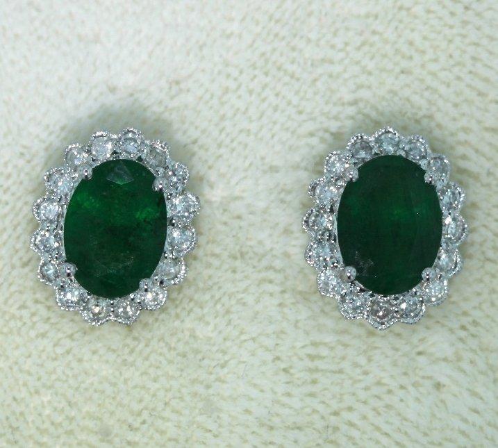 14KT White Gold 2.25ct Emerald & Diamond Earrings FJM15