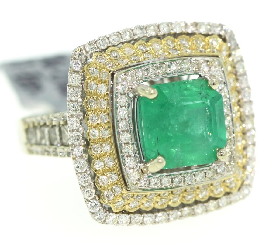 14KT White Gold 5.31ct Emerald and Diamond Ring RM267