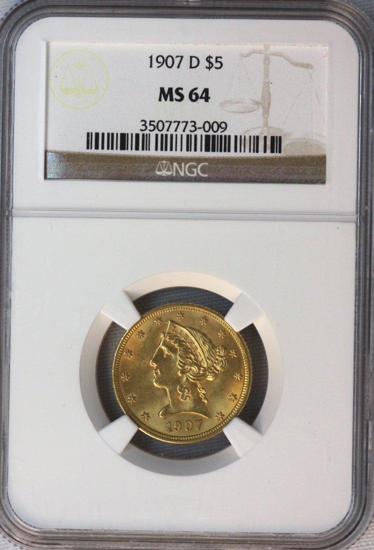 1907-D $5 NGC MS64 Liberty Head Half Eagle Gold Coin DA