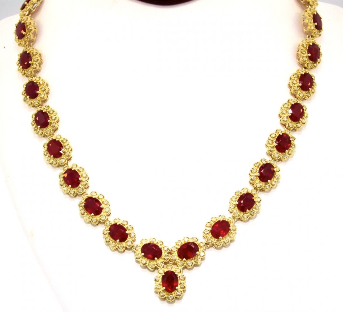 14KT Yellow Gold 53.52ct Ruby & Diamond Necklace RM518