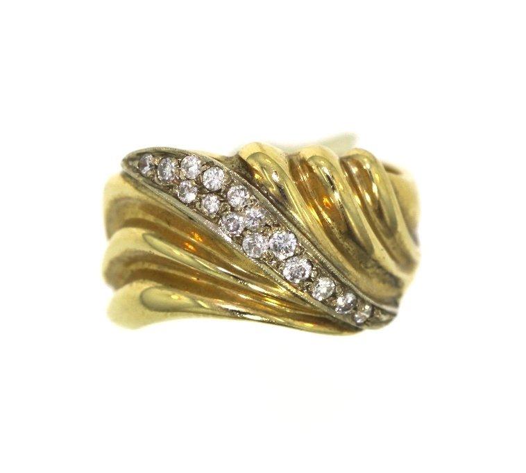 14KT Yellow Gold Ladies Diamond Fan Shaped Ring A720
