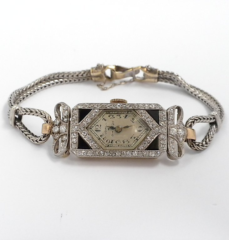 14KT White Gold Ladies Vintage Udall & Ballou Diamond W