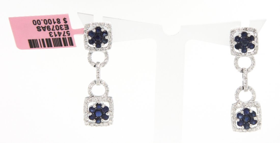 14KT White Gold Sapphire and Diamond Drop Earrings FJM1