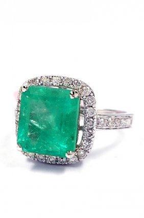 14KT White Gold 3.32ct Emerald & Diamond Ring FJM1631