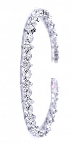 14KT White Gold 4.65ct Diamond Bracelet FJM1239
