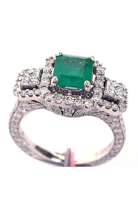 18KT White Gold 1.2ct Emerald and Diamond Ring FJM1072
