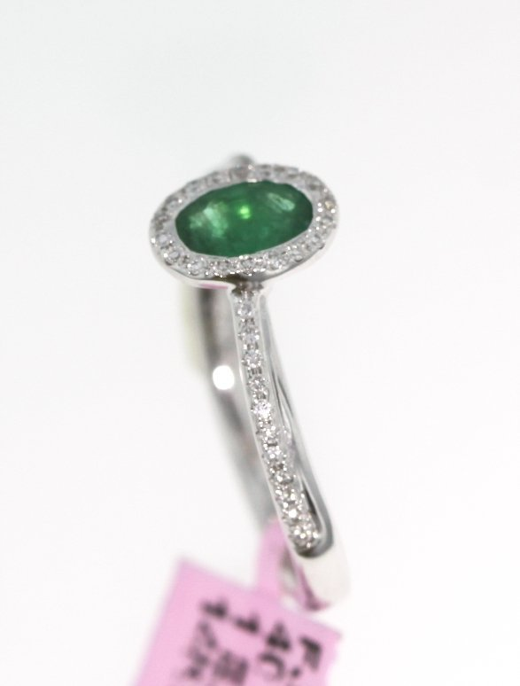14KT White Gold 0.45ct Emerald and Diamond Ring FJM1400