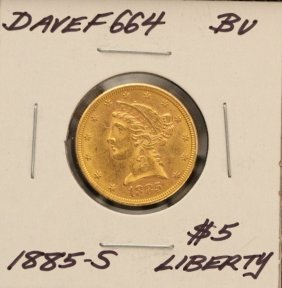 1885-S $5 BU Liberty Head Half Eagle Gold Coin DaveF664