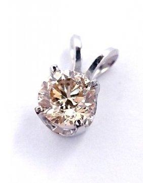 14KT White Gold .42ct Very Light Brown Diamond Pendant