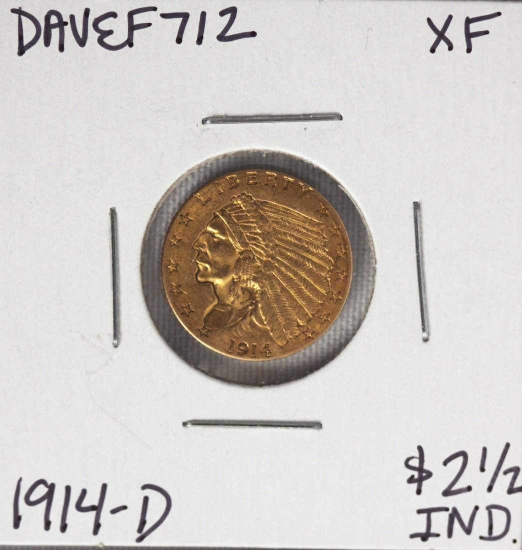 1914-D $2 1/2 XF Indian Head Quarter Eagle Gold Coin DA